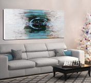 ARTLAND Hand-painted 60cm x 120cm 'Blue Eyes' Gallery-wrapped Abstract Oil Painting on Canvas Wall Art Set