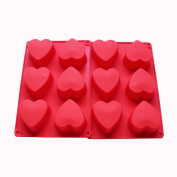6 Holes Heart Shaped Silicone Mould For Chocolate, Cake, Jelly, Pudding, Handmade Soap, Set of 2