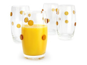 GAC Heavy Base Highball Glasses Set of 4 Unique Glass Tumblers - Drinking Glasses with Gold Dots for Good Grips - 410ml Fun Beverage Glasses Set for All Beverages