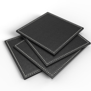 Luxurious Drink Coasters by Blu-Pier - [Set of 4] Elegant Faux Leather Bar Coasters with Hand Stitched Edges - Protect Your Furniture from Stains - Large 8.9cm x 8.9cm Bar Coasters
