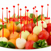 Soodhalter Valentine's Day 4-Aces, 200 Red Plastic Poker Picks, 7cm Food Toothpicks, Hearts, Diamonds, Clubs, Spades