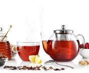 Francois et Mimi Borosilicate Glass Tea Pot with Tea Infuser, Micro-mesh Filter, 1180ml
