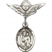 Sterling Silver Baby Badge with St. Maurus Charm and Angel w/Wings Badge Pin 2.2cm X 1.9cm