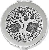 'Celtic Tree of Life' Round Silver Pill Box / Compact Travel Case
