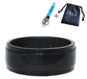Elegant Glam Silicone Wedding Ring (Band) for Men. Thin, Comfortable, Durable. 8mm Wide. Gift Bag and Silicone Keychain Included.
