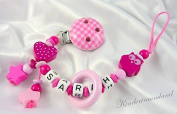 Girl's Vichy Soother Chain Owl & Heart with your Name of Choice
