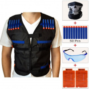 COSORO Kids Tactical Vest Jacket Kit (with 50pcs Blue Foam Darts + Protective Goggles Glasses + Seamless Skull Face Mask + 2 Pcs 5-dart Quick Reload Clip) for Nerf Toy Gun N-strike Elite Series