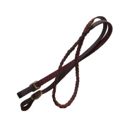 2.3m Hand Braided One piece Brown leather roping-trail-barrel Rein