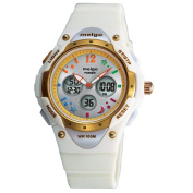 Jewtme Water-proof 100m Dual Time Unisex Child Outdoor Sport Watch White