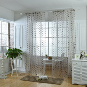 Oshide Solid Sheer Window Curtains Light Transmission Dot Pattern Net Curtain