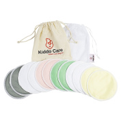 Kiddo Care Washable Organic Bamboo Nursing Pads -12 PACK Coloured (6 pairs)- Reusable Breast Pads,Bra pads, Leakproof, Ultra soft, Waterproof, Hypoallergenic breastfeeding pads, absorbent pads!