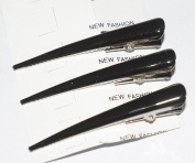 Ladies Trendy And Funky Design Fashion Spring Loaded Beak Hair Alligator Clips Barrette ( set of 3 COOL BLACK ) by love my hair