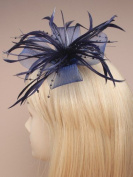 Ladies New . Dark Navy Blue Large Looped Net and Feather Flower Wedding Fascinator with Beads Detail by Lady Isla Fashion