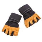 Comfspo Gel-Padded ProWrap Hand Wrap Gloves Weightlifting Gloves in Black and Orange
