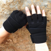 Comfspo Men Women Black Leather Half Finger Cycling/Riding/Gym Gloves With An Adjuestable Sitcker
