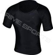 Prime Rash Guard Vest MMA Running Grappling UFC Top T Shirt Mens Boxing Black Half Sleeve Medium
