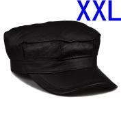 Black Fashion Genuine Leather Men's Winter Cap Hat XXL