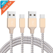 Ulinek USB Type C Cable 2 Pack 2m Nylon Braided USB C Cable to USB 2.0 Reversible Data Sync and Charging Cable Ultra Durable Data Cord for Google Pixel XL, Huawei P9, Nexus 5X, Oneplus 2, Lumia 950XL, LG G5 and More