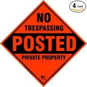 Aluminium Yellow No Trespassing Posted Diamond Shaped Signs 4 pack