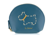 Radley small teal blue leather coin purse 'In Stitches' dog design