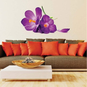 Zooarts 3D Purple Large Flower Mural Removable Wall Stickers Decals Home Room Vinyl Decor
