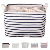 DOKEHOM DKA0611BLS 38cm Large Laundry Storage Basket (Available 38cm and 43cm ), Drawstring Square Cotton Linen Collapsible Toy Basket