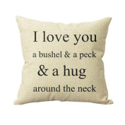 "Leewa "" I Love You A Bushel And A Peck "" Sofa Bed Home Decor Pillow Case Cushion Cover"