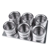 ECHI Stainless Steel Magnetic Round Containers Spice Tins Rack Kitchen Storage / See-Through Lids, Set of 6