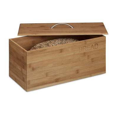 "Relaxdays Bamboo Bread Box, ""Bread"" Print, Size: 23 x 36 x 21 cm, Bread Storage Container for Bread Rolls and Cake, Wood, Bread Bin, Natural"