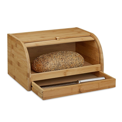relaxdays rolling bread box with drawer bamboo aroma. Black Bedroom Furniture Sets. Home Design Ideas