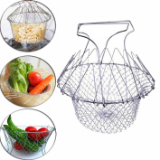 Chef Basket Foldable Fry Basket Steam Strainer Net, Kitchen Cooking Bar Cooking Tools Utensils,Chef Rinse Strain Magic Basket Mesh Basket for Fried Food