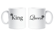 King and Queen Couples Mug Set Parents Present Husband Wife Boyfriend Girlfriend Valentines Gift Christmas Anniversary Cup Ceramic