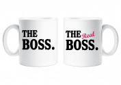 The Boss The Real Boss Couples Mug Set Parents Present Husband Wife Boyfriend Girlfriend Valentines Gift Christmas Anniversary Cup Ceramic