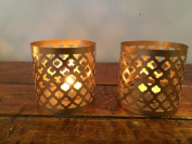1 Pair Of T Light Candle Holders Tea Lights Chic Gold Finish TL-8 G