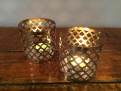 1 Pair Of T Light Candle Holders Tea Lights Chic Nickel Plated Finish TL-8 N