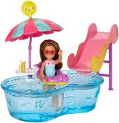 "Barbie DWJ47 ""Club Chelsea Pool and Water Slide"" Doll"