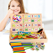 40PCS Wooden Number Sticks + 100PCS Bricks Blocks Mathematics Material Educational Toy + Mushroom Teacking Clock Time Learning for Kid Child Maths Early Education Learning