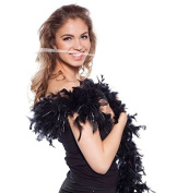 Feather Boa Black with silver fringes 180cm