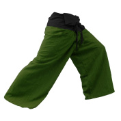 2 TONE Thai Fisherman Pants Yoga Trousers FREE SIZE Plus Size Cotton Drill Striped Charcoal and Green