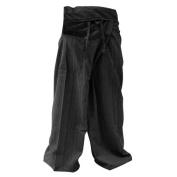 Thai Fisherman Pants Yoga Trousers FREE SIZE Plus Size Cotton Drill Charcoal Stripe