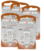 Rayovac Extra Advanced Hearing Aid Batteries 312 1,45 V 180 mAh, 5x Pack of 6