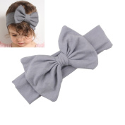 Grey Kids Bow Hairband Headband Baby Girl Stretch Cotton Turban Knot Head Wrap