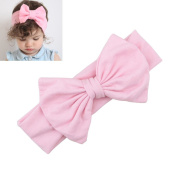 Pink Kids Bow Hairband Headband Baby Girl Stretch Cotton Turban Knot Head Wrap