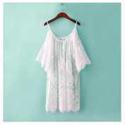 EQLEF® Big Plus Size Women Tops Fashion Lace Blouse White Off Shoulder Sheer Sexy Beach Loose Blouses