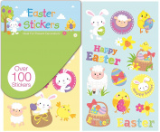 100 Happy Easter Stickers Book Bunny Chick Egg Carrot Craft School Card Present Decoration Child Party Bag Filler