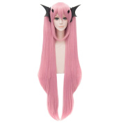 Women Pink Long Straight Wigs Cosplay Anime Krul Tepes Full Bangs Party Ponytail