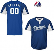 Royal/White 2-Button Cool-Base Los Angeles Dodgers Blank or CUSTOM Back (Name/#) MLB Officially Licenced Baseball Placket Jersey