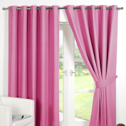 Dreamscene Luxury Ring Top Fully Lined Pair Thermal Blackout Eyelet Curtain, Pink, 170cm x 230cm