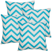 Avanzza Set of 4 Turquoise Pillow Case Cushion Cover 40 x 40 cm for Line Decor Chic Cushion Sofa Throw Pillow Cushion Coussin Sofa Pillow, Decorative Throw Pillow Cushion Covers