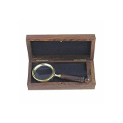 Nostalgic Brass Magnifying glass, Hand magnifier, Nautical magnifying glass im Exotic wood Little box